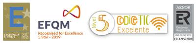 Logos calidad EFQM CoDiCe TIC Aenor
