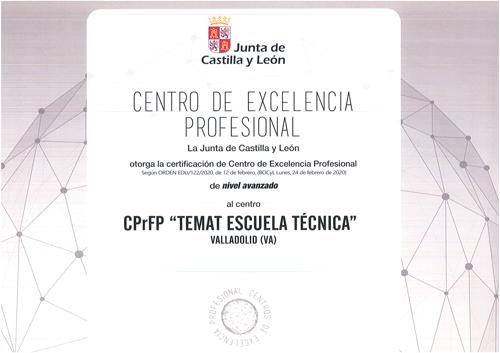 Certificación como Centro de Excelencia Profesional de nivel avanzado